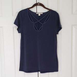 Navy strappy neck top